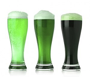 Three glasses of St. Patrick's Day green beer