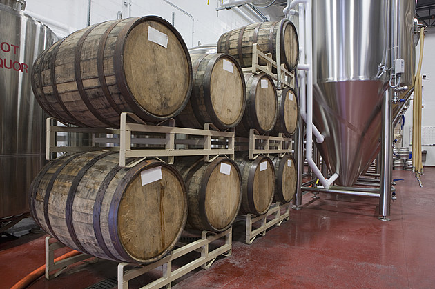 Barrels in a brewery