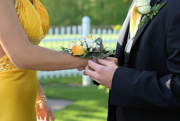 prom wedding couple corsage