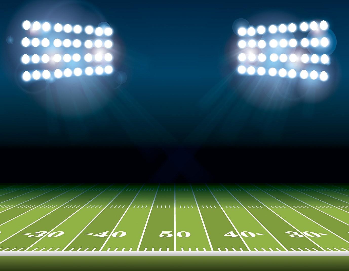 American Football Field with Stadium Lights